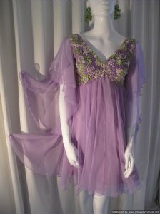 1970's Liliac chiffon baby doll vintage mini dress **SOLD**